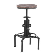 iKayaa Metal Industrial Bar Chairs Height Adjustable Swivel Pinewood Top Kitchen Dining Chair Pipe Style Barstool Bar Chairs(China)