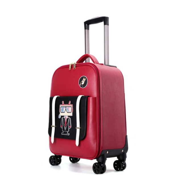 Travel Tale 18 Inch Small Leather Suitcase Cabin Luggage Cute Trolly Bag For S