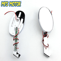 Motorcycle Parts Turn signals Running Custom OVAL Shape Mirror for Harley Davidson softail FatBoy