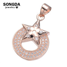 SONGDA 3 Color Fashion Zircon Necklace Pendant Micro Pave CZ Star And Round Shape Design Jewelry For Women Party Fitting PX0134(China)