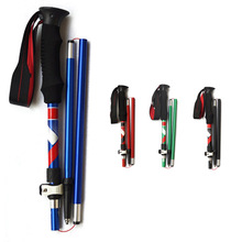 3-Section Ultra-light EVA Handle Foldable Canes Aluminum alloy Walking Sticks Trekking Pole Alpenstock For Outdoor