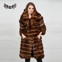 BFFUR Women Clothing 2018 Fashion Style Super Thick Warm Genuine Natural Fox Fur Long Coat Animal Coats On Winter Fur Jacket