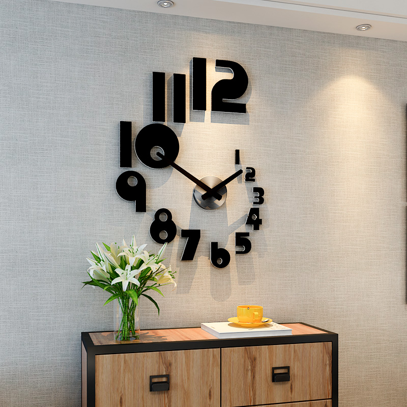 2019 New DIY Large Wall Clock Modern Design Silent Quartz Watch Sticker 3d Living Room Home Decor Acrylic Horloge Free Shipping