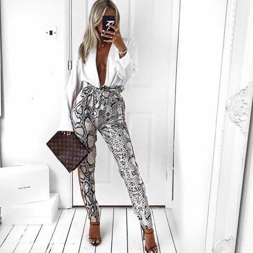 New Women Side Striped Snake Skin Pattern Pants Elastic Waist Pockets Ladies Casual Streetwear Fashion Trousers Mujer