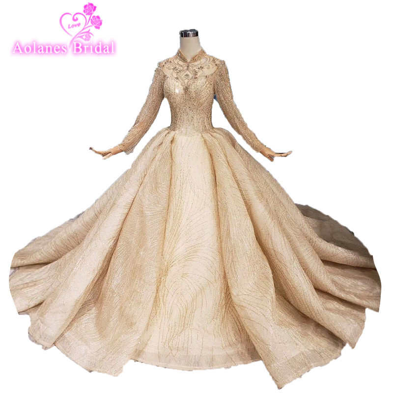2019 New Dubai High-end Long Sleeves Luxury Wedding Dress Vintage Sexy High Neck Gold Beading Sequined Beads Wedding Bride Gown