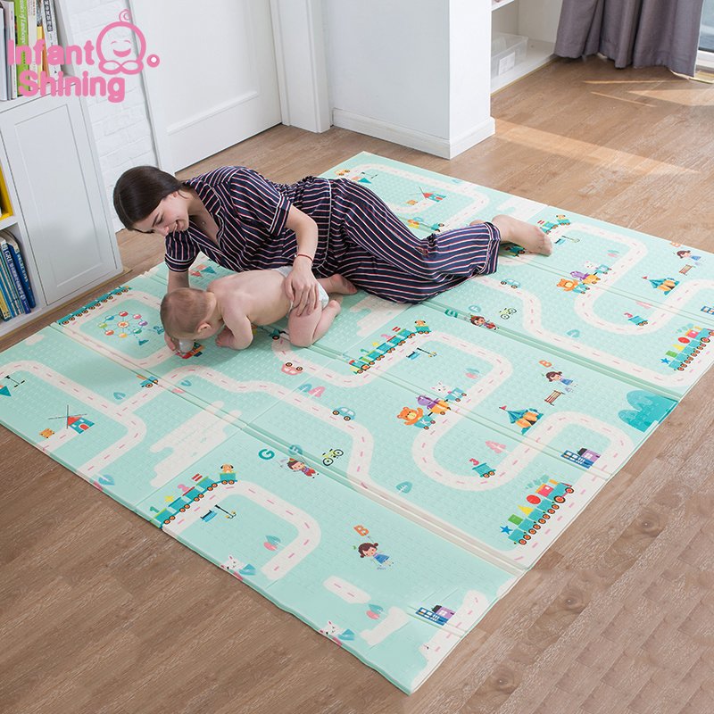 Infant Shining 180X200CM XPE Play Mat 1CM Thickness Cartoon Baby Play Mat Foldable Anti-skid Carpet Children Game Mat BInfant Shining 180X200CM XPE Play Mat 1CM Thickness Cartoon Baby Play Mat Foldable Anti-skid Carpet Children Game Mat B