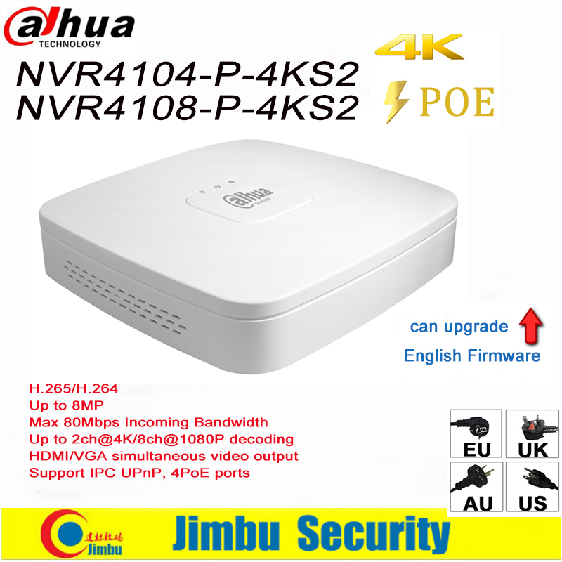 Dahua NVR NVR4104-P-4KS2 NVR4108-P-4KS2 4 PoE Ports Video Recorder 4Ch/8CH Smart Mini 1U Up to 8MP Resolution Max 80Mbps H.265 2014 new arrival dahua smart 1u nvr with p2p mini nvr nvr4104 nvr4108 nvr4116 free dhl shipping