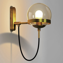 Postmodern Wall Lamp LED Wall Sconces Bedside Living Room Hotel Aisle Bedside Bedroom Lamp Glass Ball Wall Sconce Light Fixture bokt nordic wall wood light glass lampshade wall sconces staircase porch aisle wall bedroom bedside lamp
