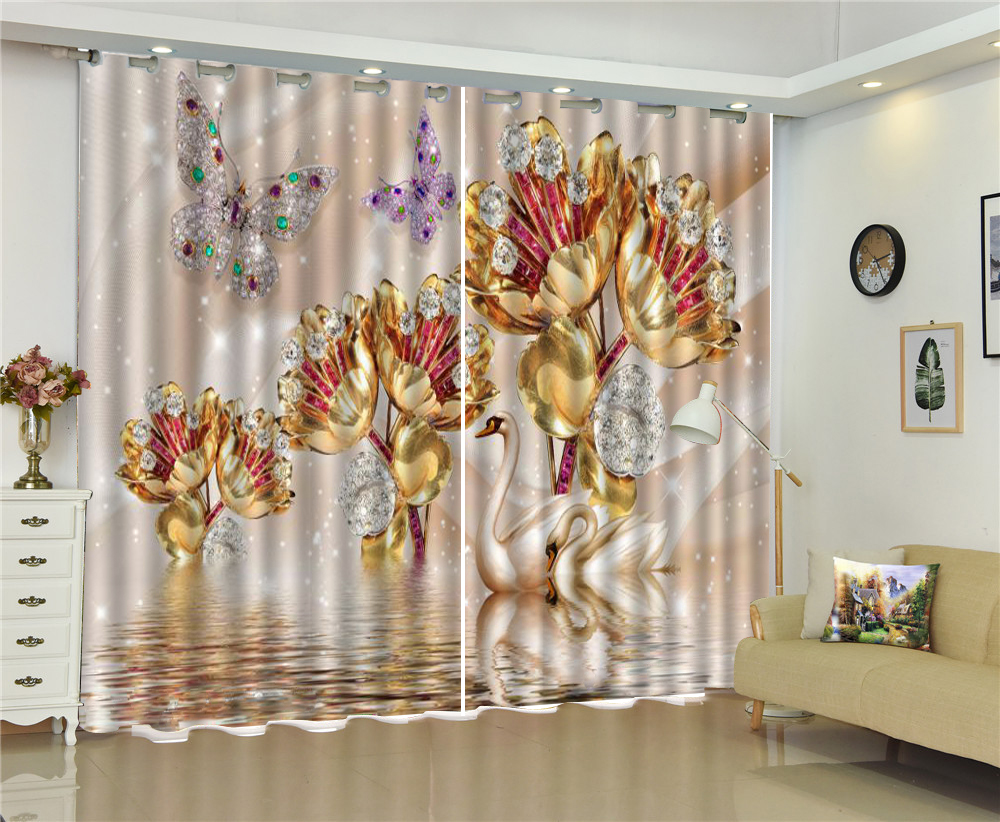 Curtain Beautiful Swan Lake Diamond Flower Butterfly 3D Animal Curtains, Your Favorite High-End Practical CurtainsCurtain Beautiful Swan Lake Diamond Flower Butterfly 3D Animal Curtains, Your Favorite High-End Practical Curtains