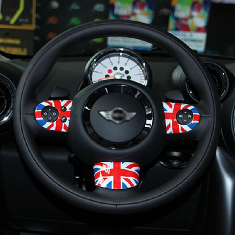 DSYCAR 3pcs/set Car Styling Car Steering Wheel Logo Emblems Sticker Cover For BMW Mini Multi-function Buttons Model Accessories car wind 38 cm genuine leather car steering wheel cover black steering wheel cover for bmw vw gol polo hyundai car accessories