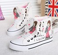 Spring New Winter  Graffiti Canvas Shoes  High-Top Cartoon Animation Pattern Men Shoes British Student Denim Casual Shoes Black