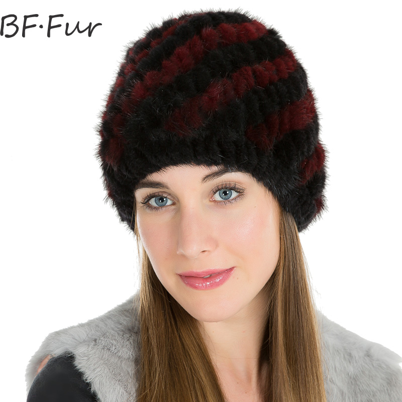 Real Animal Mink Fur Hat Women Natural Color Female Cap Women Winter Warm Knitting Cotton Solid Beanies Black Casual Bonnet russian real mink fur hat for female animal fur winter warm beanies fashion solid color cap natural color bonnet girls hats
