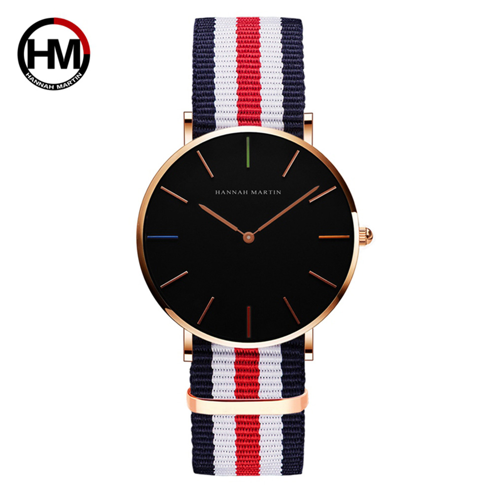 HM Top Brand Luxury Gold Man Watch Quartz Nylon Waterproof Gold Causal Dress Gift For Men Military Wristwatch Relojes Hombre