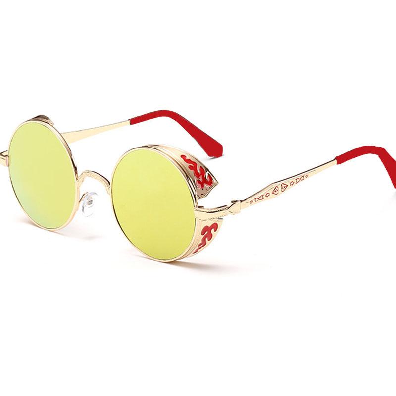 Unique Steampunk Sunglasses Unisex Round Gothic Sun Glasses Ladies 2015 Retro Future Sunglass Styles Flowers Pattern Frame 8990 (9)