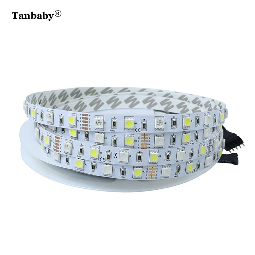 Tanbaby 5M/Roll SMD 5050 RGBW RGBWW Bare Board LED Strip Light DC12V Not Waterproof Flexible Strip Tape Lighting Indoor Deco