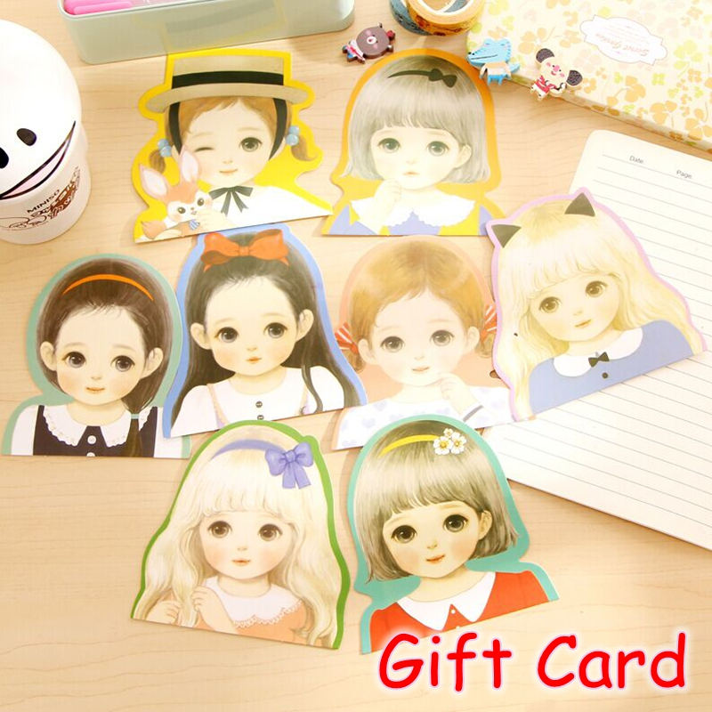(64 Pieces/Lot) Kawaii Girls Post It Notes Birthday Greeting Card Cute Postcards Mini Gift Cards Memo Pad FRS-218
