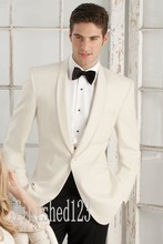 High Quality One Button Ivory Groom Tuxedos Groomsmen Men's Wedding Prom Suits Custom Made (Jacket+Pants+Girdle+Tie) K:109