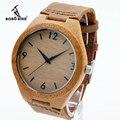 Bobo bird amores de moda diseñador de la marca de relojes de madera de bambú japonés 2035 movimiento de cuarzo analógico relojes con bandas de cuero