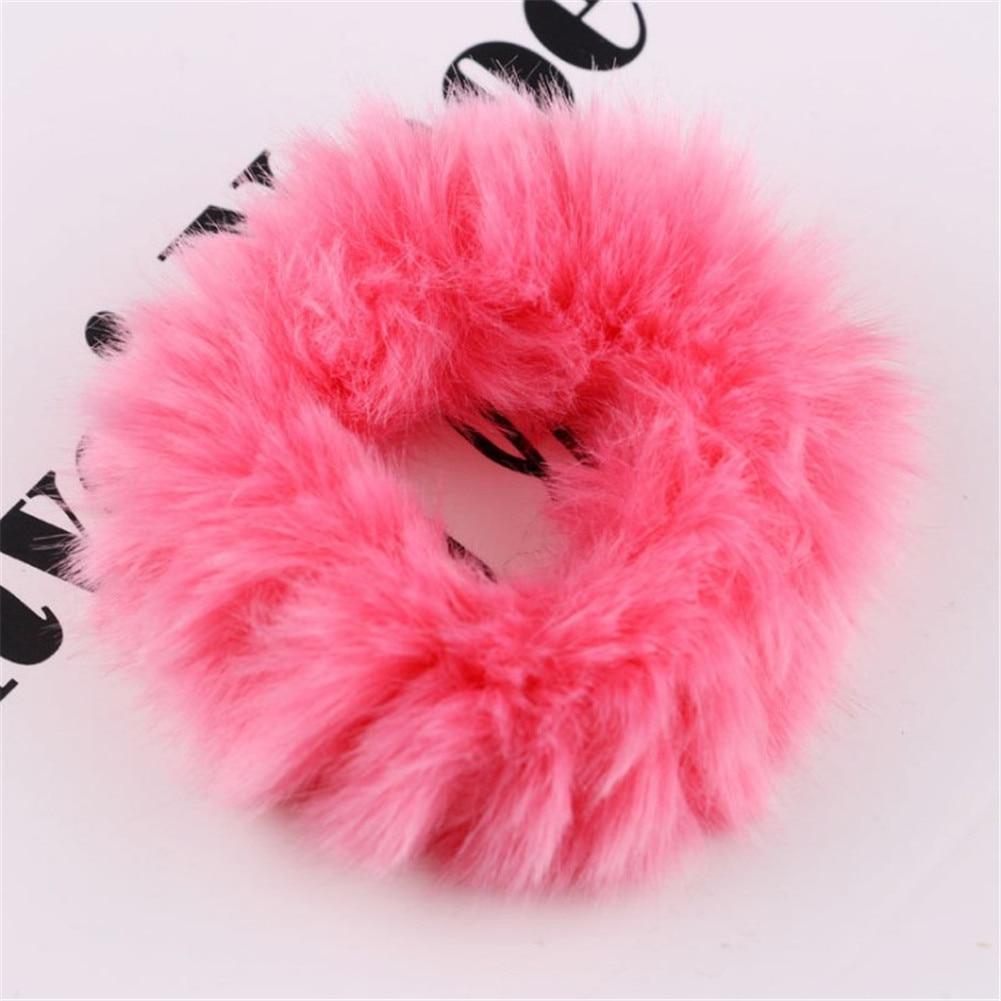 1 мягкий пушистый искусственный мех, пушистый благородный, новинка, шикарные резинки для волос, эластичное кольцо для волос, аксессуары, эластичные розовые резинки для волос - Цвет: 48
