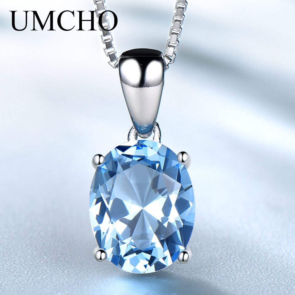 UMCHO  Genuine 925 Sterling Silver Pendants Necklaces For Women Gemstone Jewelry