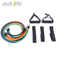 11Pcs Portable Fitness Equipment Elastic Resistance Latex Tube Workout Bands Set For Yoga Stretch Exercise Strength