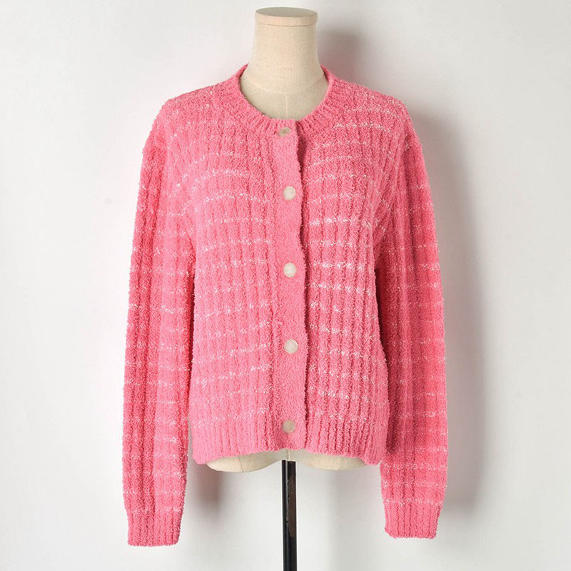 2019 Spring Wool Cardigan Striped Single Buttons Breasted Femal Sweater Cardigan Coat Runway Knitted Tops Outwear