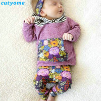 7-24 m baby meisjes bloemen kleding sets (hooded t-shirt + broek) sport kids pasgeboren baby kleding suits nieuwjaar lange mouwen outfits