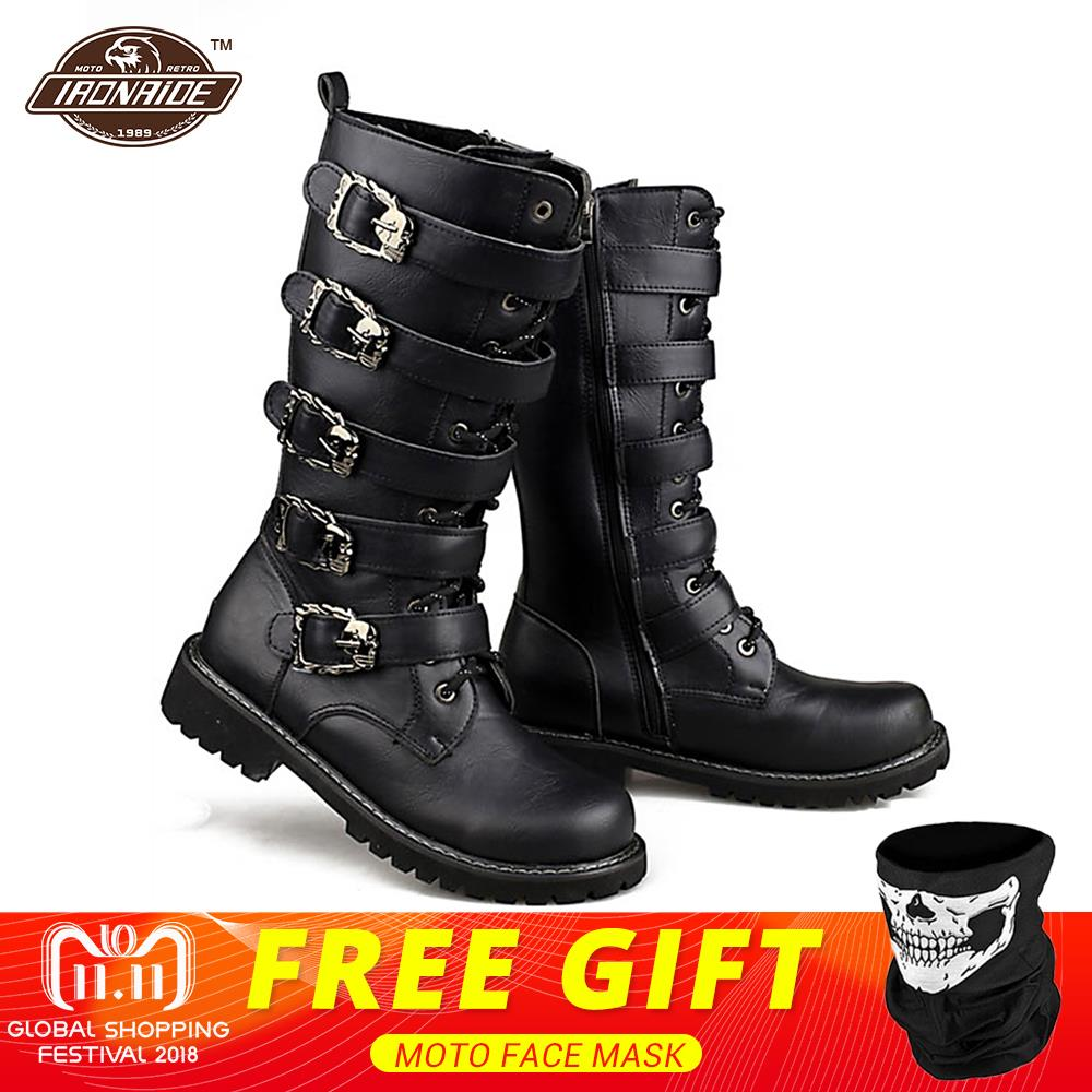 Motorcycle Boots Men Punk Martin PU Leather Boots Moto Steampunk Boots Belt Buckle Military Boots Mid-calf Shoes Protective Gear 1pcs lot l78 plastic gx16 male aviation socket wire panel connector lid circular protective sleeve sell at a loss ukraine usa