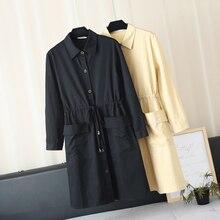 Осенняя Новинка XL хлопок женская талия тонкая мода большой карман однотонная ветровка куртка A241