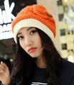 Youth collocation sweet bowknot Knitting cap high quality letter winter warm hat female 5color 1pcs brand new arrive
