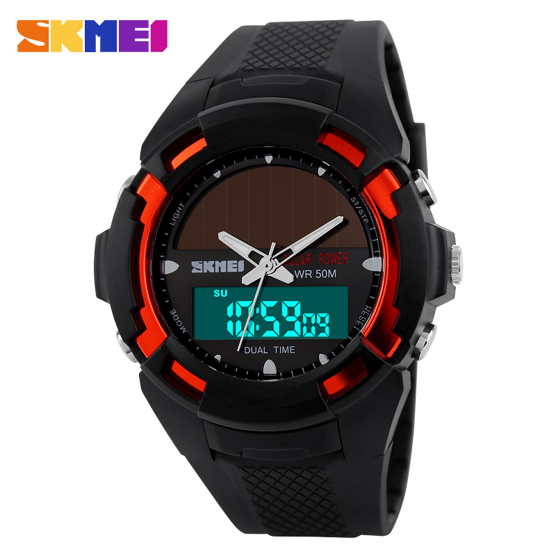 2017 New Solar Energy Watch Men s Digital Sports LED Watches Men Solar Power Dual Time
