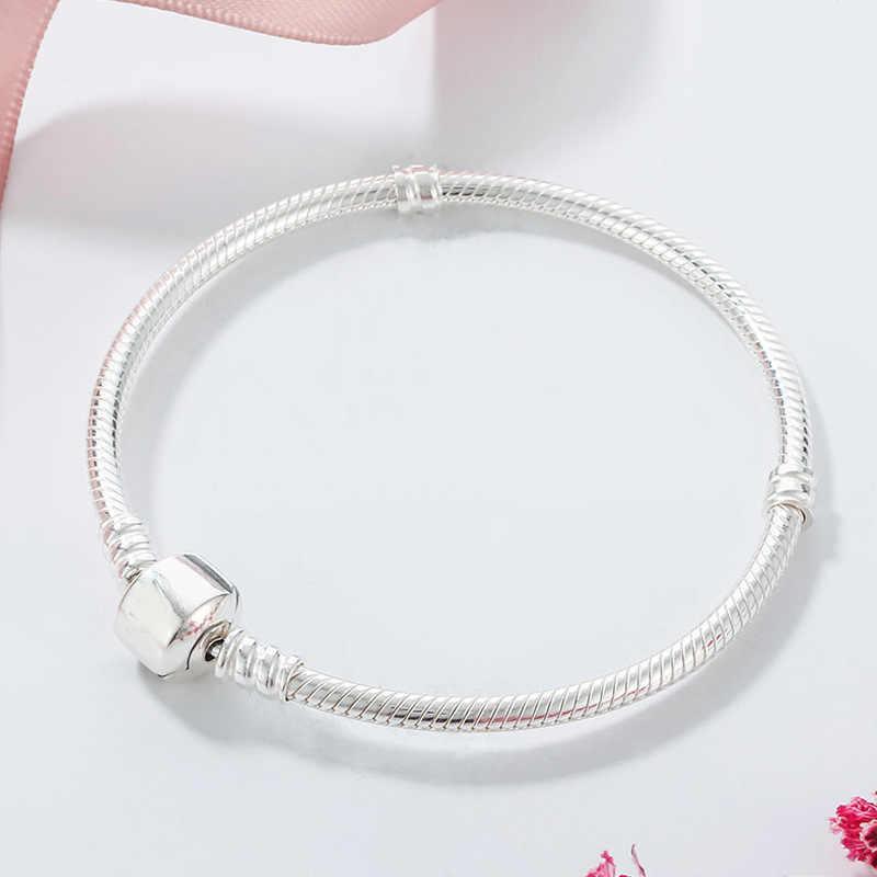 Прислали сертификат! Оригинальный 925 солидный, серебряный, прелестный Браслеты для Для женщин длинные 16-23 см змеиные кости браслеты, свадебные украшения ZSL005
