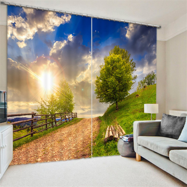 bucolic scene 3D Blackout Window Curtains For Living room Bedding room Home Decor Tapestry Wall Carpet Drapes Cotinas