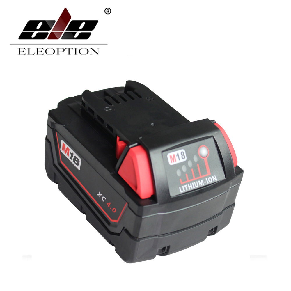 ELEOPTION 18V Lithium Ion 4000mAh Replacement Rechargeable Power Tool Battery for Milwaukee M18 XC 48-11-1815 M18B2 M18B4 M18BX eleoption 18v li ion 4000mah replacement power tool battery for milwaukee m18 xc 48 11 1815 m18b2 m18b4 m18bx li18 and charger