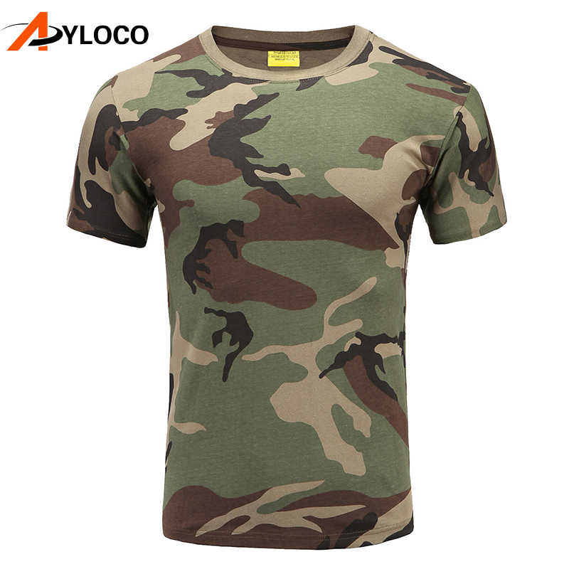 Military Camouflage Hiking T-Shirt Cotton Breathable Army Tactical T-shirt Mens Compression T Shirt Fitness Summer Bodybulding