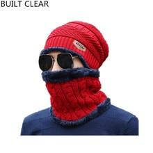 (BUILT CLEAR) Balaclava Hot Winter Warm Caps Rugs Men's Scarves Wool Cap Casual Wool Women's cap Winter Hat