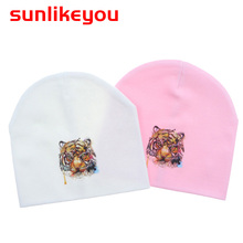 Sunlikeyou Spring Toddler Baby Girl For Boy Kids Caps Cotton Soft Newborn Faux Racoon Fur Pompom Animal print Beanie Hat