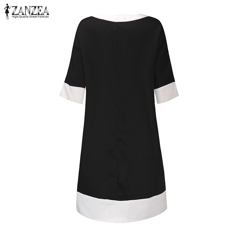 Zanzea 2017 новый женщины dress случайные свободные платья женщин половина рукава о шея лоскутная колен осень femininas vestidos черный