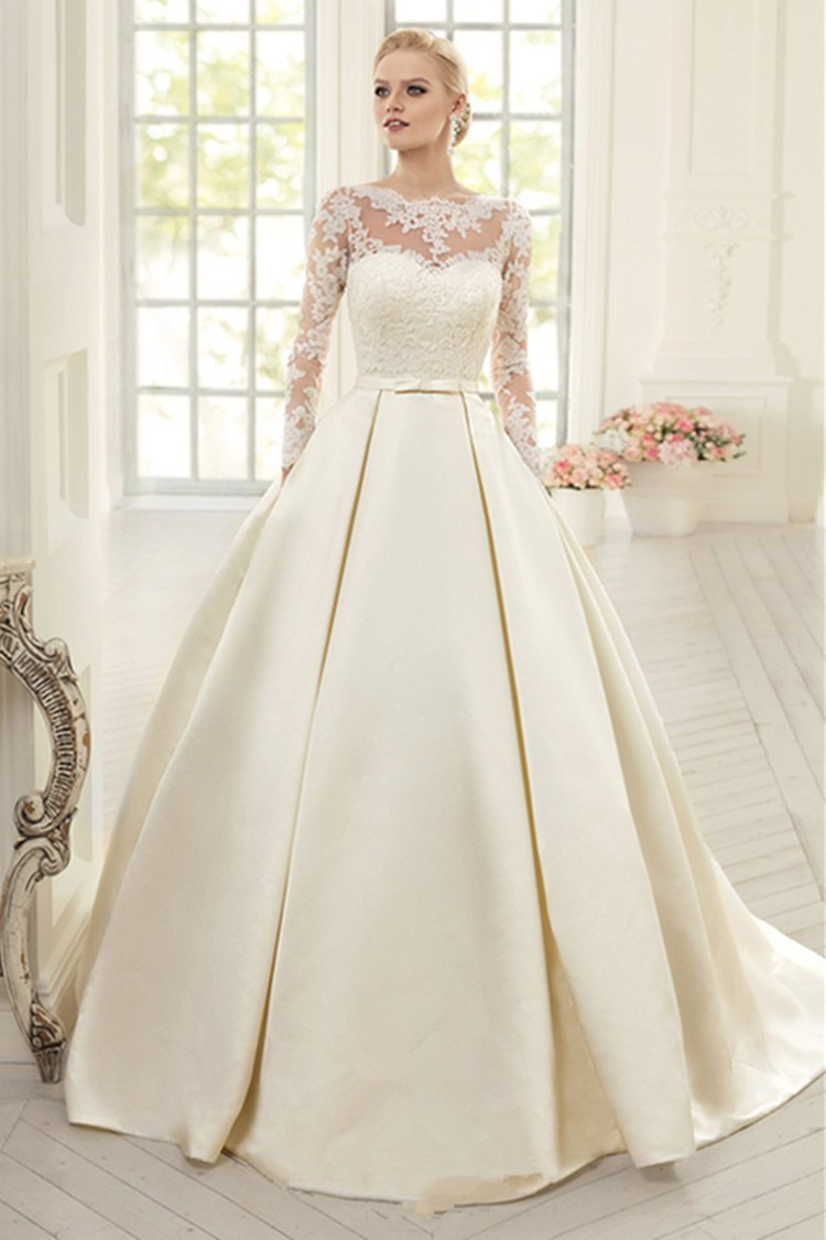 Elegant ivory lace wedding dress long sleeves satin wedding gown elegant ivory lace wedding dress long sleeves satin wedding gown with bow court train up ball gown dress bride robe mariage in wedding dresses from weddings ombrellifo Choice Image