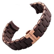 Nuevo 2015 de La Moda Correa de Reloj De Goma Envolver Rosegold Acero Hebilla de Despliegue para ar5890 5905 5906 5801 5920 Relojes de la correa de 20 MM 23 MM