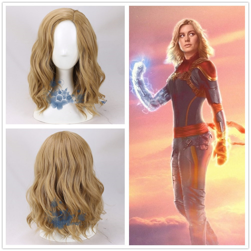 Women Movie Captain Marvel Coplay wig Women Carol Danvers Blonde Wavy Hair Gold Wig Costumes With Hairnet