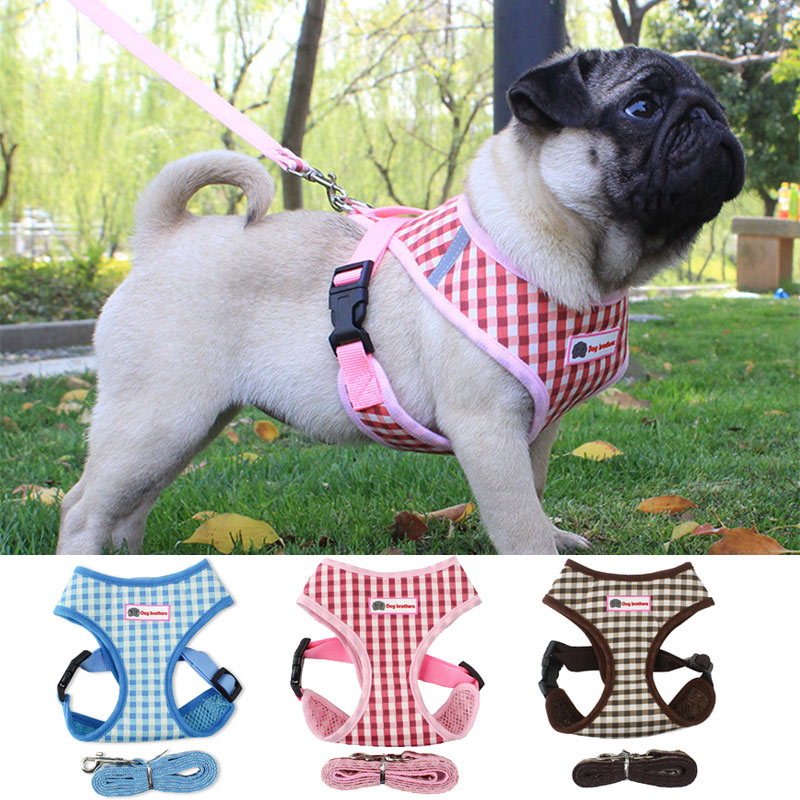 Dog Harness For Chihuahua Pug Small Medium Dogs Nylon Mesh Puppy Cat Harnesses Vest Reflective Walking Lead Leash Pet shop sets