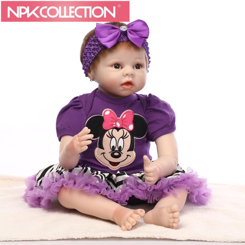 Handmade Reborn Baby Doll 22 Inch 55 cm Soft Silicone Baby Girl Smiling Newborn Dolls Children Birthhday Xmas Gift N188