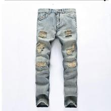 2017 seasons ripped jeans Japanese wash water light color trend of jeans Men's trousers jeans biker jeans