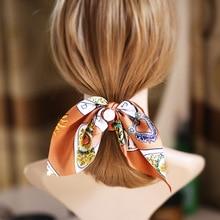 1ks Velké vlasové luky Scrunchies Hodinky z hedvábného koníka, vlasové doplňky, elastické vytištěné vlasy, perly Bowknot Hair Scrunchy