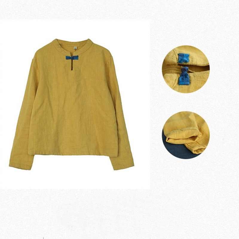 Áo Sơ Mi Linen Nữ Truyền Thống Trung Quốc Áo Sơ Mi Trắng Nữ Vải Lanh Quần Áo Kimono Nữ 2019 Sườn Xám Đầu TA673