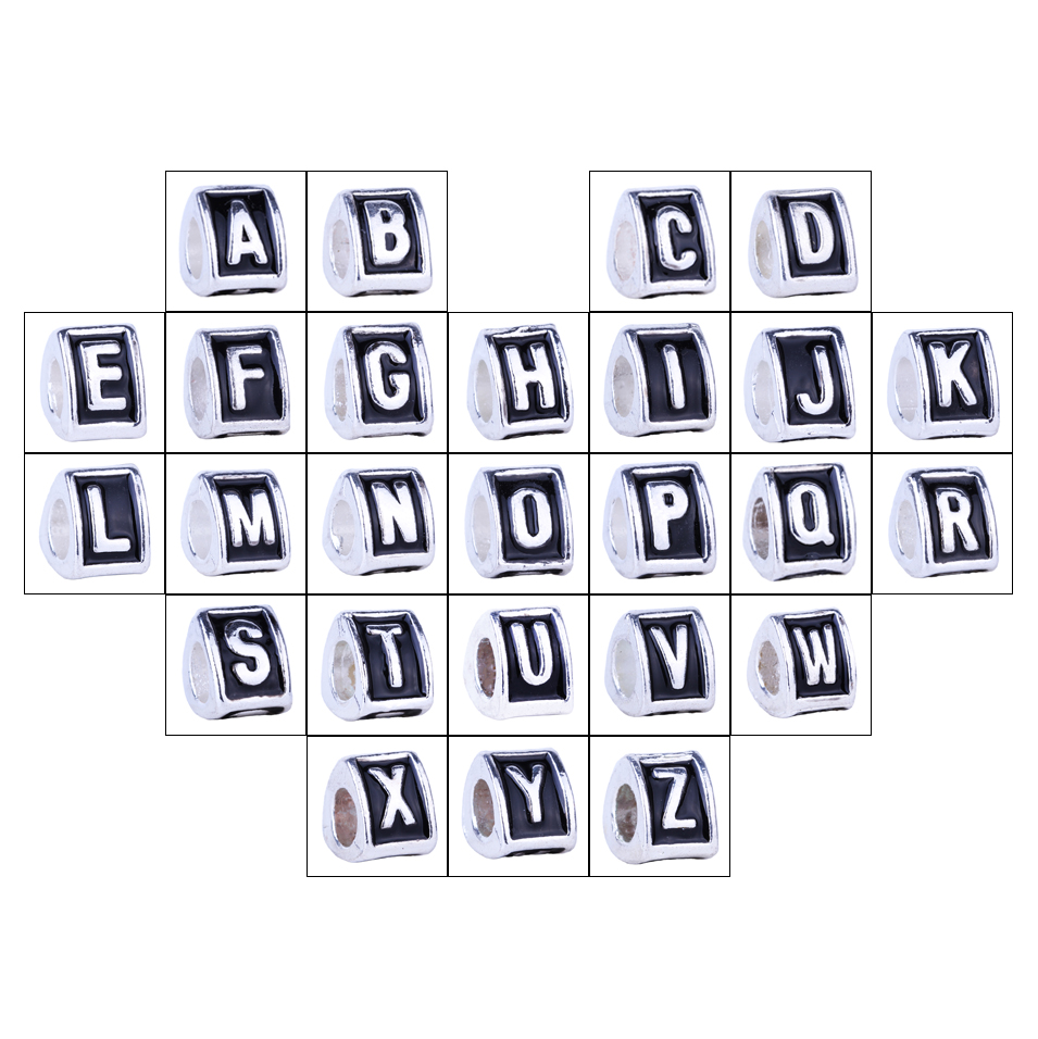 1piece english alphabet letters a to z antique silver plated beads charms