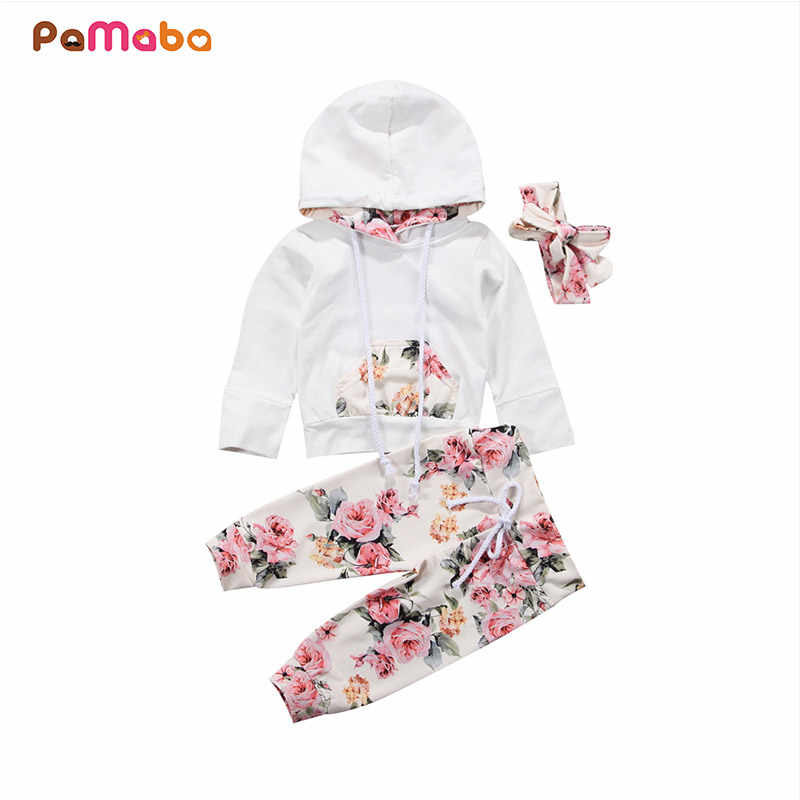 8b7ce6646a63 PaMaBa 3Pcs Baby Girls Clothing Set 0-24M Newborn Infant Clothes Hoodie  Bebe Girls Pants