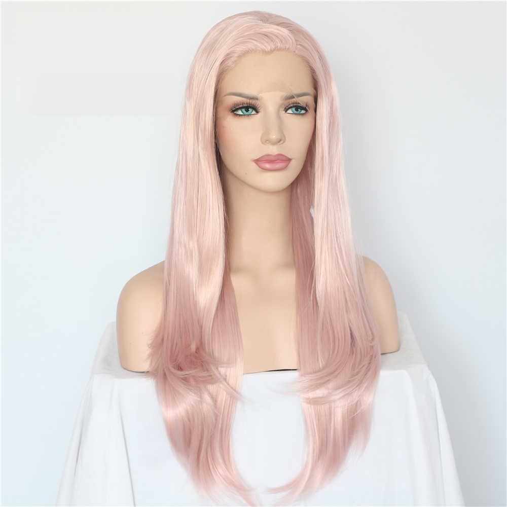 Lvcheryl naturalne długie fala różowy kolor włosy ręcznie wiązanej żaroodporne włosy pełna gęstość syntetyczna koronka przodu peruki dla kobiet