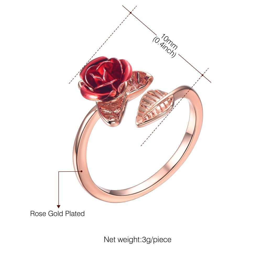 U7 gorąca sprzedaż pierścienie regulowany Rose Flower złoty kolor otwarcie pierścienie dla kobiet prezent na walentynki Drop Shipping R1020